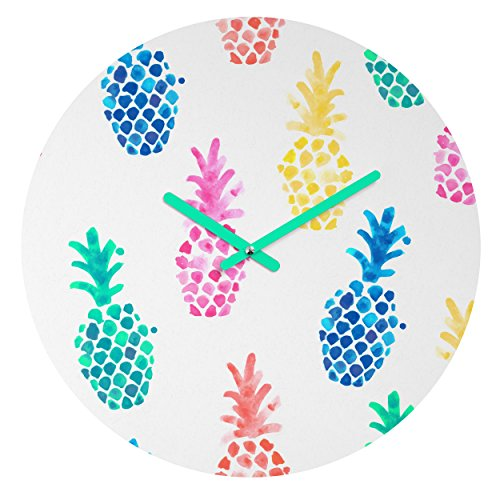 (Deny Designs Dash and Ash Round Clock, Pineapple Paradise)