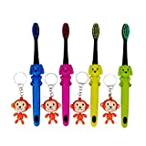 Nicesh Manual Kid's Ultra Soft Bristle Toothbrush with Monkey Key Buckle, Pack of 4