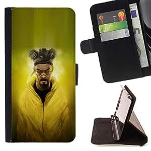 - Evil Chemist - - Prima caja de la PU billetera de cuero con ranuras para tarjetas, efectivo desmontable correa para l Funny HouseFOR Samsung ALPHA G850