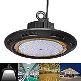 BRIGHTINWD 150 Watt Warm White LED High Bay UFO Lights 15000 Lumen Ultra Efficient 100 Lumens to Watts Smaller and More Efficient Warehouse LED Lights Retail Lights High Bay LED Lights