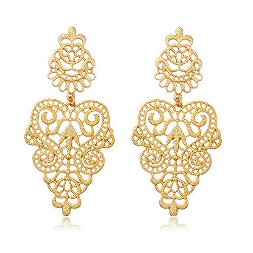 (T-Doreen Bohemian Filigree Hollow Lace Pattern Chandelier Dangle Earring for Women Gold Plated)