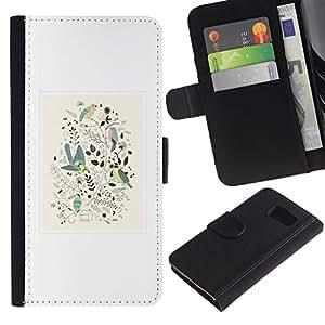 iBinBang / Flip Funda de Cuero Case Cover - Patrón minimalista con marco blanco floral - Samsung Galaxy S6 SM-G920