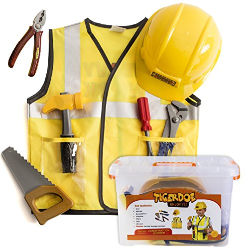 Construction Worker Costume for Kids - Builder Costume - Dress Up Clothes W/ Case by (Costume Builder)