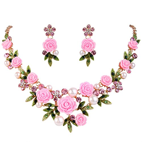 EVER FAITH Women's Crystal Simulated Pearl Pink Rose Flower Leaf Necklace Pierced Earrings Set Gold-Tone