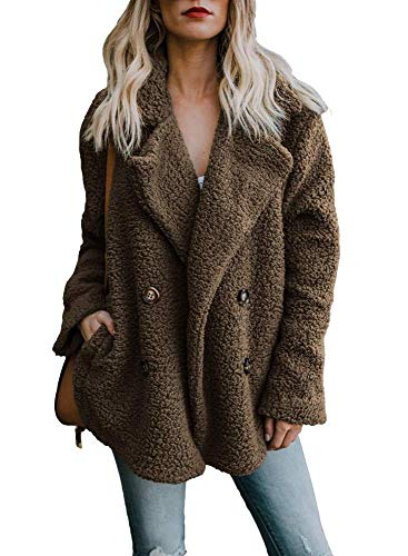 - Women's Coat Casual Lapel Fleece Fuzzy Faux Shearling Zipper Coats Warm Winter Oversized Outwear Jackets (Small, Brown 02)