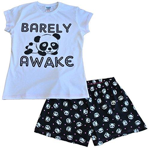 ThePajamaFactory Super Cool Barely Awake Girls Panda Bear Short Pajamas PJ 10 12 14 -