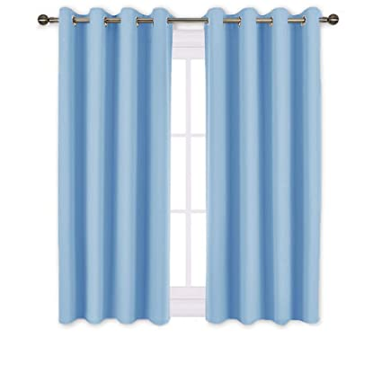 NICETOWN Blue Bedroom Blackout Curtains - Functional Blackout Draperies and  Drapes Window Panels, Thermal Insulated, 52 inches x 45 inches, Set of 2 ...