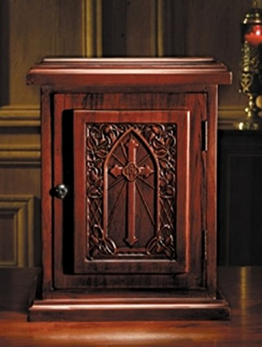 Maple Hardwood Tabernacle with IHS Cross in Walnut Stain Finish, 20 Inch by Robert Smith