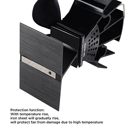 Sonyabecca Heat Powered Stove Fan with Magnetic Thermometer 4 Blade Wood Stove Fans Aluminium Silent Eco-Friendly for Wood Log Burner Fireplace by Sonyabecca (Image #5)