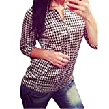 Lowpricenice Women Houndstooth Pattern Shirt Zipper Casual Slim Tops Blouse (M)