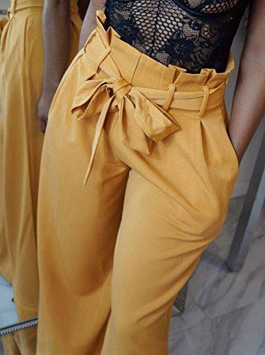 Pantaloni Tasche Dritti Basic Stoffa Pantaloni Baggy Trousers Khaki Lunga Larghi Cintura Spiaggia Ragazza Waist Donna Inclusa Tempo Libero Di Pantaloni Estivi Eleganti Pantaloni Con Pantaloni High Tendenza 7tAaxqx