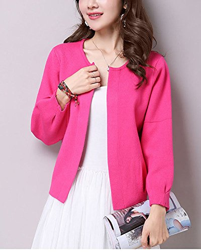 Mujer Cárdigan Jerséis de Punto Chaqueta Manga Largas Tops Suéter Outwear Rosa