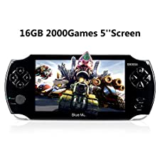 Handheld Game Console,16GB 5 inch Screen 2000 Classic Game, Support Video & Music Playing, Built-in 3M Camera, in 1 USB Charge, Birthday and Best Gift for Kids (Black)