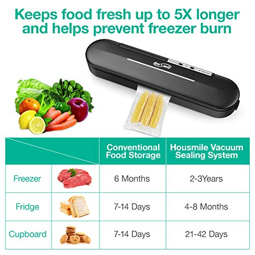 Housmile Vacuum Sealer Machine Automatic Food Saver Vacuum Sealer with 10 Pcs Vacuum Bags Easy to Clean LED Indicator Compact Design for Food Savers and Sous Vide, Black