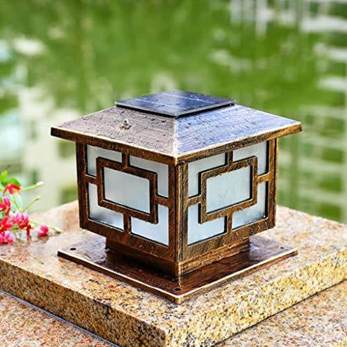 ZQH Solar Pillar Lamp, European Retro Column Headlight Landscape Garden Column Lamp Aluminium Outdoor Door Column Lamp Waterproof Patio Courtyard Villa Decor LED Post Cap Lights,3040cm