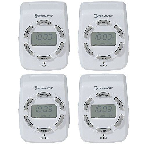 Intermatic DT122K 15 Amp 120V Indoor Programmable 7-Day Digital Timers, 4-Pack