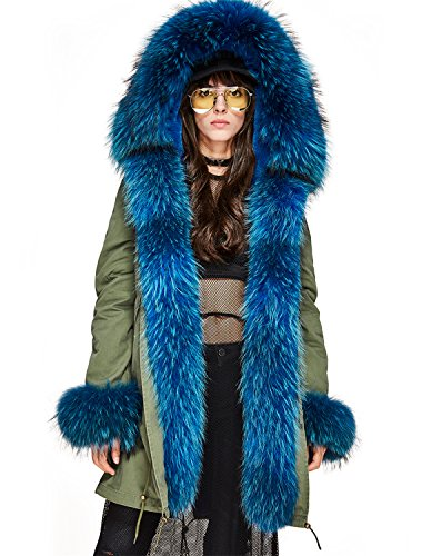 Women's Real Raccoon Fur Hooded Parka Rabbit Fur Liner Detachable Long Jacket Winter Coat (US 10, Army Green (Blue)) (Detachable Liner Jacket)