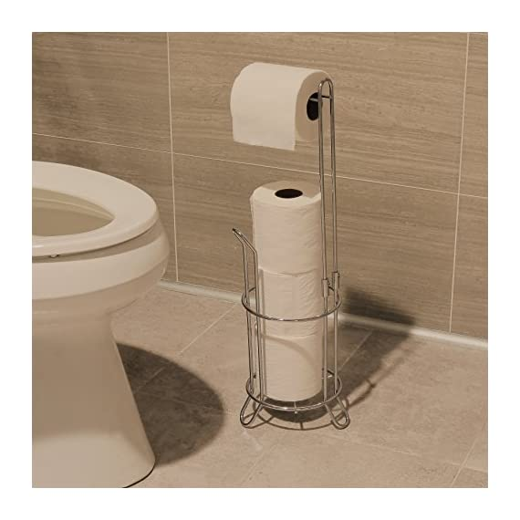 Simple Houseware Bathroom Toilet Tissue Paper Roll Storage Holder Stand, Chrome Finish 3 Free-Standing Design for any bathroom Holds 3 rolls of toilet tissue and dispenses 1. Never be without toilet paper again. Sturdy construction with elegant chrome finish