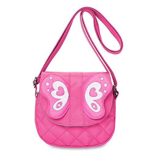 Zicac Butterfly Crossbody Bag Cute Purse with Zipper Pull Little Girls Purses (Pink)
