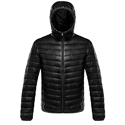 Long Packable Down Cappuccio Giacca Giacche Uomo Con Sleeve Puffer Black Ake pqwE50g