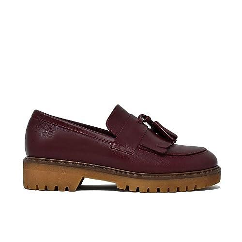 5f794686a5 Mocasin Flecos en Piel Burdeos  Amazon.es  Zapatos y complementos