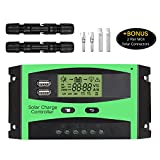 [Upgrated] 30A Solar Charge Controller, Baoboace Solar Panel Battery Intelligent Regulator with 2 USB Port Extra 2 Pair MC4 Connectors, PWM Controller / LCD Display, 12V/24V