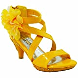 Kids Dress Sandals Strappy Patent Leather Flower High Heel Girls Yellow SZ 12