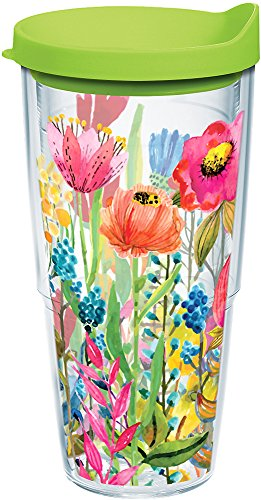 Tervis 1208404 Watercolor Wildflowers Tumbler with Wrap and Lime Green Lid 24oz, Clear ()