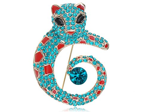 Alilang Womens Golden Tone Turquoise Blue Colored Rhinestones Cat Leopard Brooch ()