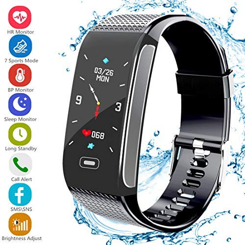 (Fitness Tracker HR, Activity Tracker with Pedometer Blood Pressure Heart Rate Monitor IP67 Waterproof Step Calorie Distance Tracker Call SMS SNS Remind for Men Women Kids Compatible for Android iOS)