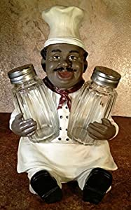 Soul Spice Black Chef Salt & Pepper Shakers Decorative Holder African-American Style Kitchen Dining Accessory by DWK