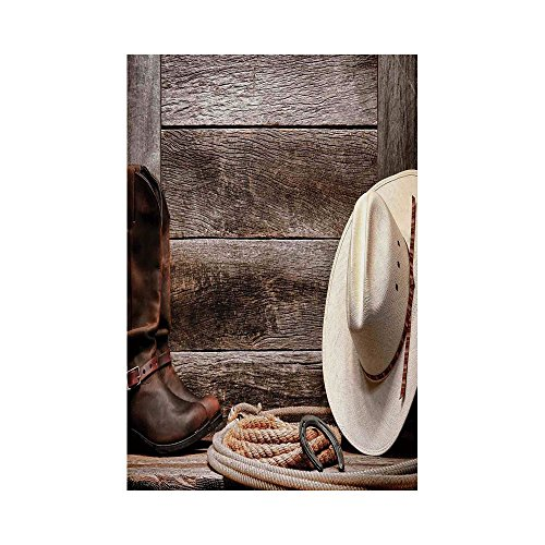 Garden Wood Outdoor Barn (Polyester Garden Flag Outdoor Flag House Flag Banner,Western Decor,American West Rodeo White Straw Cowboy Hat with Lariat Leather Boots on Rustic Barn Wood,for Wedding Anniversary Home Outdoor Garden)