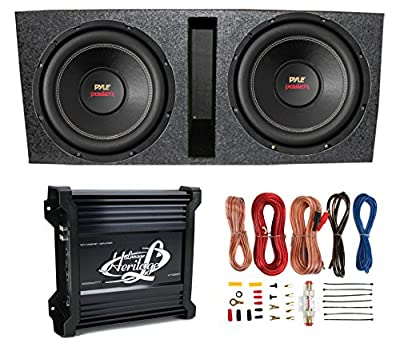 "2) Pyle 15"" PLPW15D Subwoofers + Vented Box + Lanzar 2 Channel Amp + Wiring Kit by Pyle"