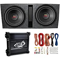 2) Pyle 15 PLPW15D Subwoofers + Vented Box + Lanzar 2 Channel Amp + Wiring Kit