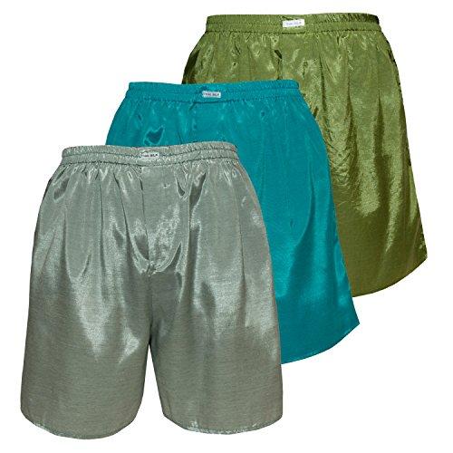 Men's Underwear Sleepwear Thai Silk Boxer Shorts Color Mix Pack of 3 (M, White-green Turquoise Olive-green) (Thai Turquoise Silk)