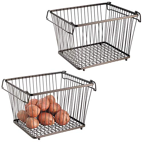 mDesign Household Stackable Wire Storage Organizer Bin Basket with Built-in Handles for Kitchen Cabinets, Pantry, Closets, Bedrooms, Bathrooms � Large, Pack of 2, Steel in Durable Bronze Finish