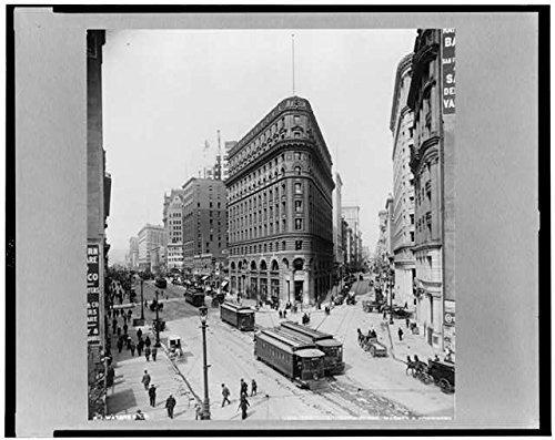 Photo: Crocker Buildings,Market,Post Streets,c1912,San Francisco,California,CA,Trolley