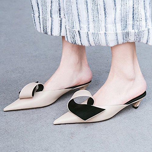 Moda pantofole albicocca Alla Elegante Donna Sandali i suggerimento pattini ed AJUNR Da 39 Baotou 5cm yWpzq0zIF