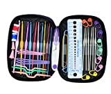 OldShark 49 Pieces Crochet Hooks Yarn Knitting Needles Sewing Tools Full Set Knit Gauge Scissors Stitch Holders