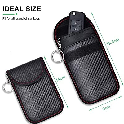 2 Pack Faraday Key Fob Protector, RFID Key Fob Protector Pouch, Faraday Bag Anti-Theft RFID Blocking EMF Cage for Keyless Car Key: Car Electronics