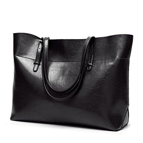 tamaño moda Penao de Bolso simple 38cmx13cmx30cm de señora de cuero Black mensajero de bolso hombro especial gUqvgw