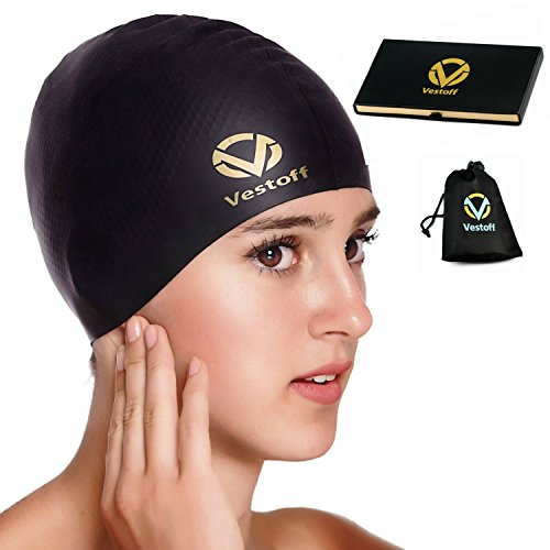 Vestoff Premium Solid Silicone Swim Cap for Women Men Kids with Anti-Slipping Technology, Odor-Free, Easy To Use, Flexible and Durable, Bonus Box and Carry Bag