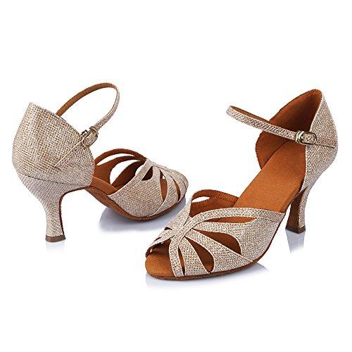 HROYL Zapatos de Baile/Zapatos Latinos de Satén Mujeres ES-4352 Oro