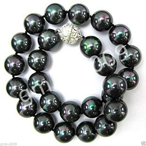 Fricgore, Handmade Jewelry, AAA+ 12mm Multicolor Black South Sea Shell Pearl Beads Necklace 18''