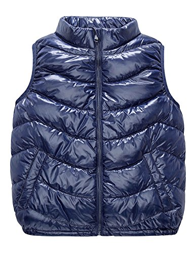 Boys & Girls Ultra Light Down Packable Vest, Sleeveless Outerwear Compact Windproof Vest Jacket with Collar and Pockets (8-10Y, Dark - Duck Autism