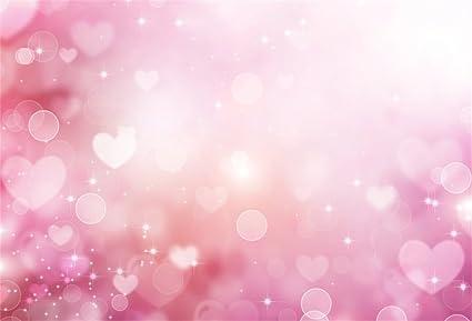 AOFOTO 5x3ft Sweet Pink Heart Pattern Photography Background Abstract Glittering Stars Backdrop Kid Newborn Girl Children