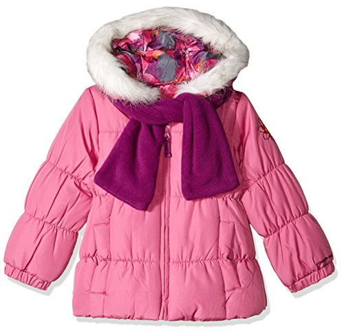 London Fog Girls' Little Winter Coat with Scarf & Hat, Phlox Pink, 5/6