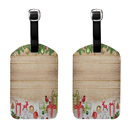 Labels ID Tags Christmas,Pine Branches Ornaments on Wooden Planks Snow Presents Vintage Composition Print, Multicolor Tag with Strap