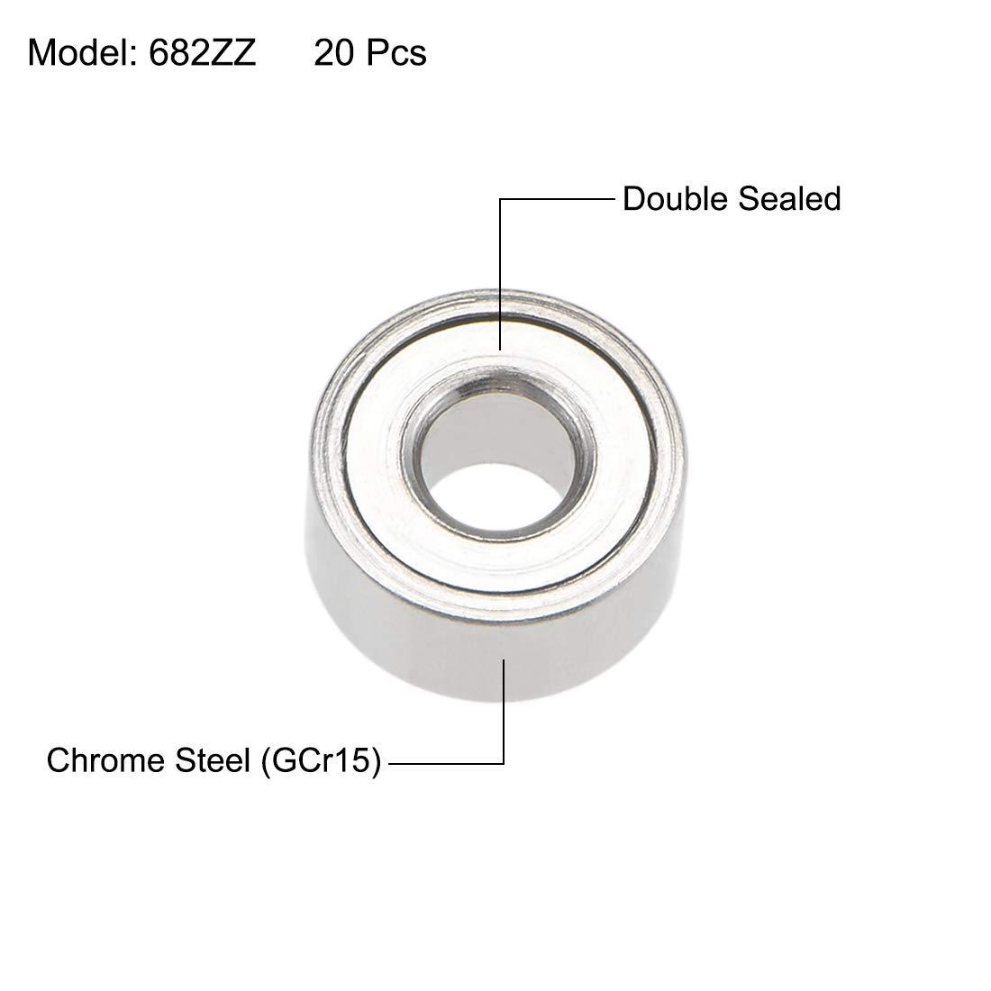 uxcell 682ZZ Deep Groove Ball Bearings 2mm Inner Dia 5mm OD 2.3mm Bore Double Shielded Chrome Steel Z2 20pcs
