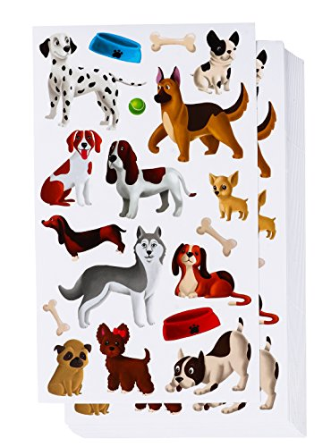 Blue Panda 36-Sheets Small Puppy Dog Stickers - 684 Total Pieces for Kids, Scrapbooking, and Birthday Party Favors, 8.5 x 5 Inches -